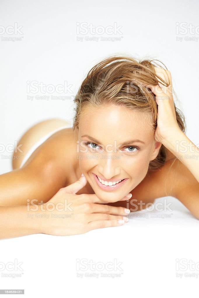 Beauty shot of beautiful, blonde woman waiting for spa treatment royalty-free stock photo
