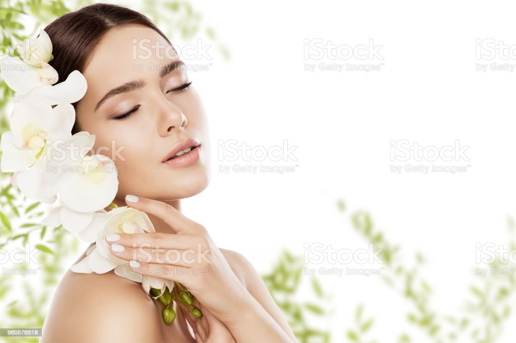 Beauty Skin Care And Face Makeup Woman Skincare Natural Make Up Model With Orchid Flower Stock Photo Download Image Now Istock