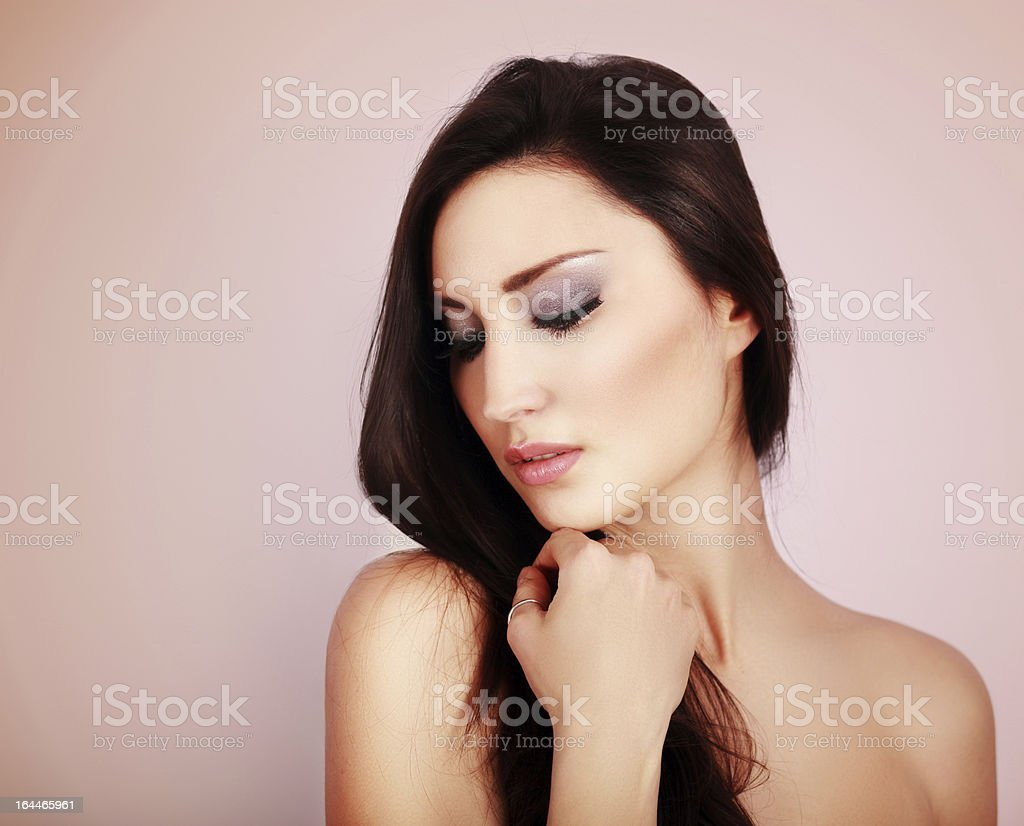 Beauty skin care and hair portrait stock photo