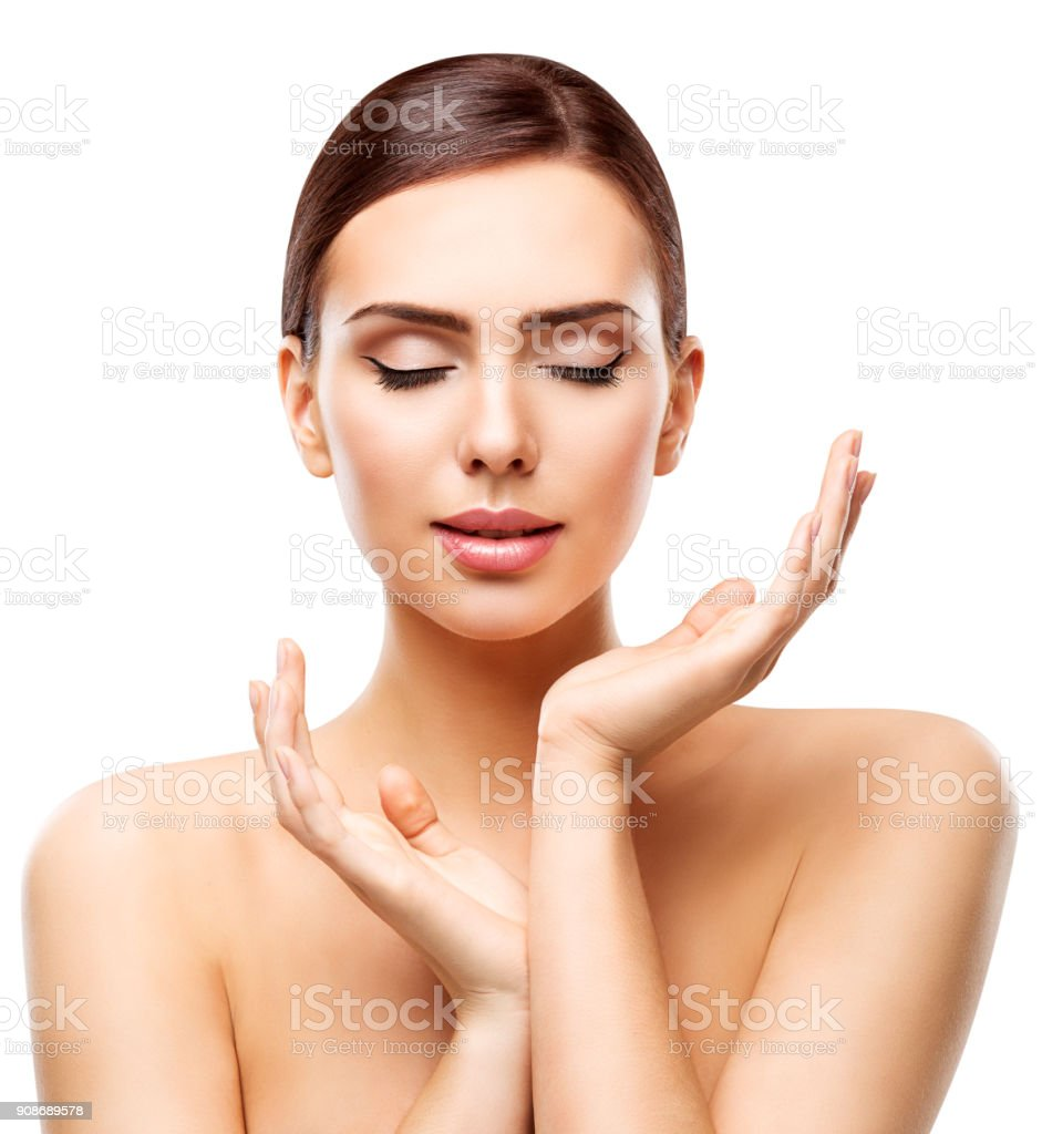 Beauty Skin Care, Young Woman Face Natural Make Up and Hands Skincare stock photo