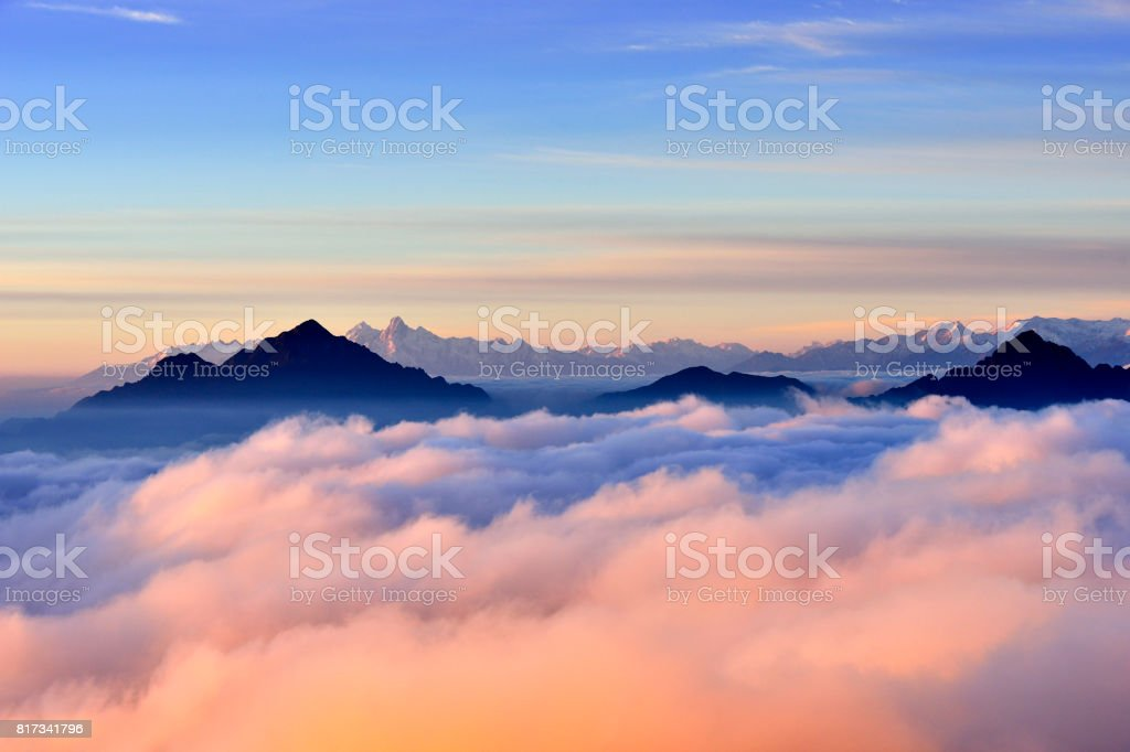 Beauty Snowcapped Mountain at Sunrise (Cattle Back Mountain) stock photo