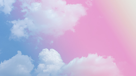beauty soft yellow sweet pastel with fluffy clouds on sky. multi color rainbow image. abstract fantasy growing sweet light
