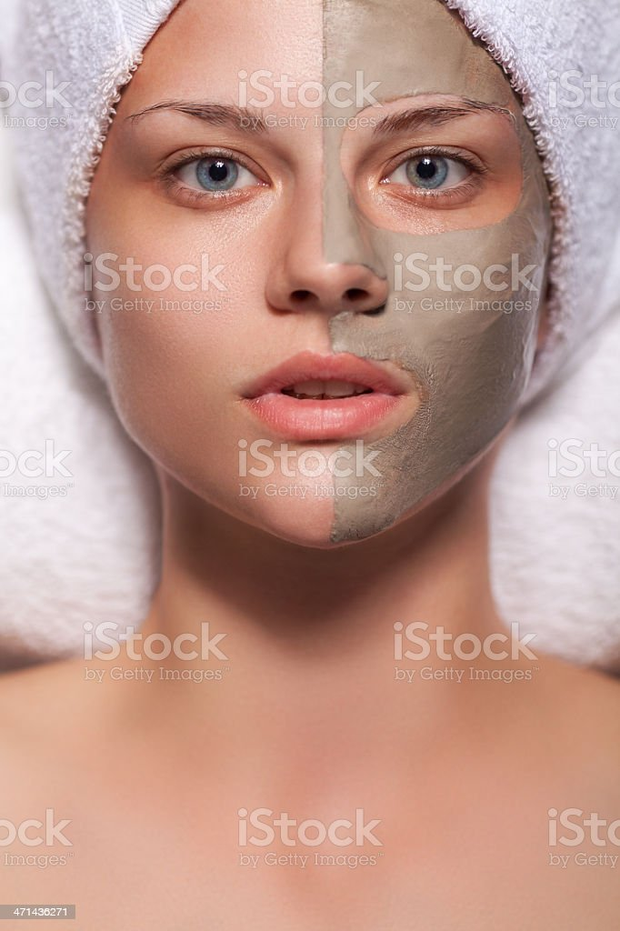 Beauty spa treatment with mud stock photo
