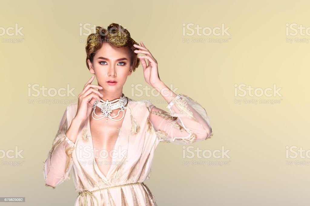 Beauty Spa Woman with perfect skin Portrait Caucasian on white background stock photo