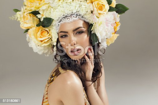 1169941952istockphoto Beauty Summer Girl with Flowers Hair Style 513180861