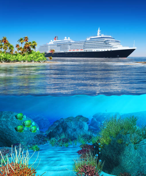 beauty summer landscape - cruise ship stock photos and pictures