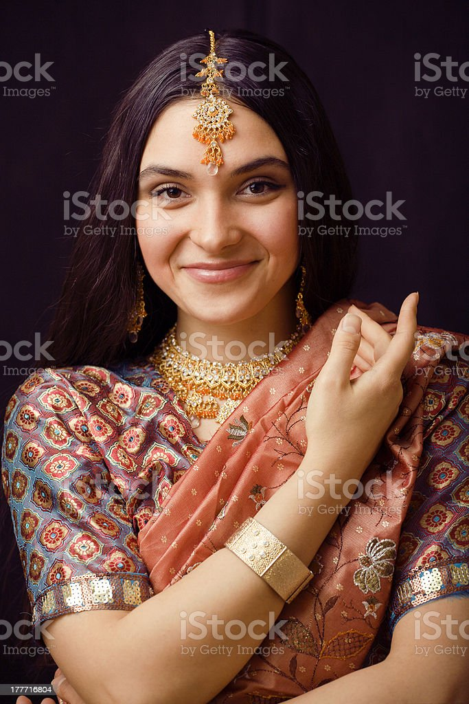 beauty sweet indian girl in sari smiling royalty-free stock photo