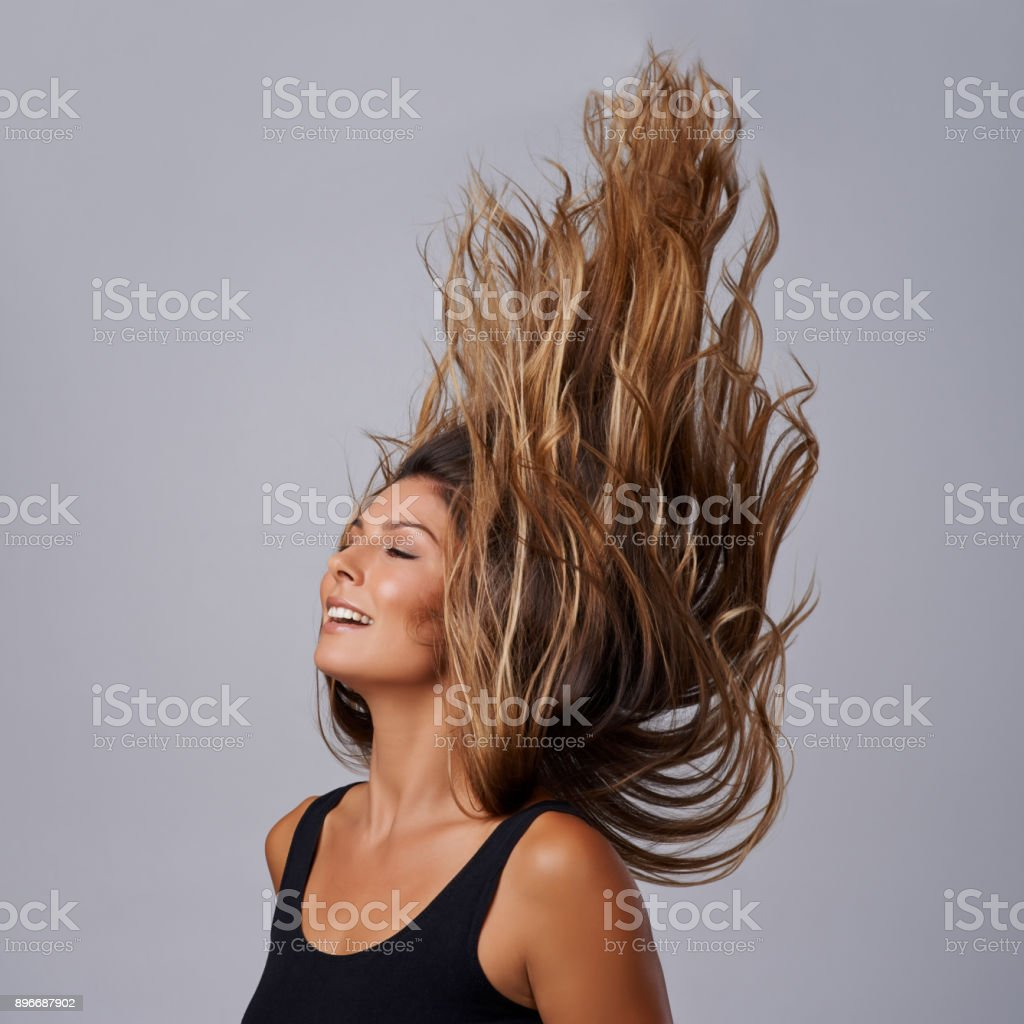 Beauty that'll blow your hair back stock photo