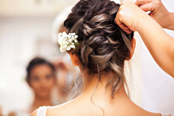 Beauty time for bride. stock photo