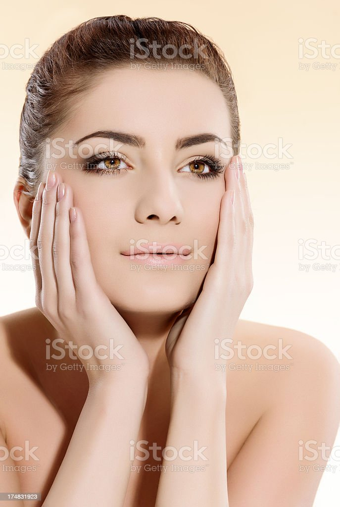 beauty touching face royalty-free stock photo