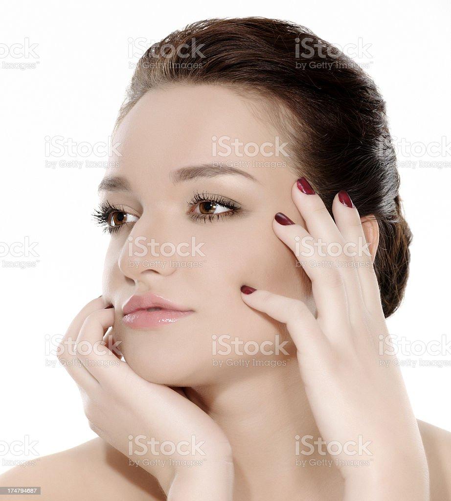 beauty touching skin royalty-free stock photo