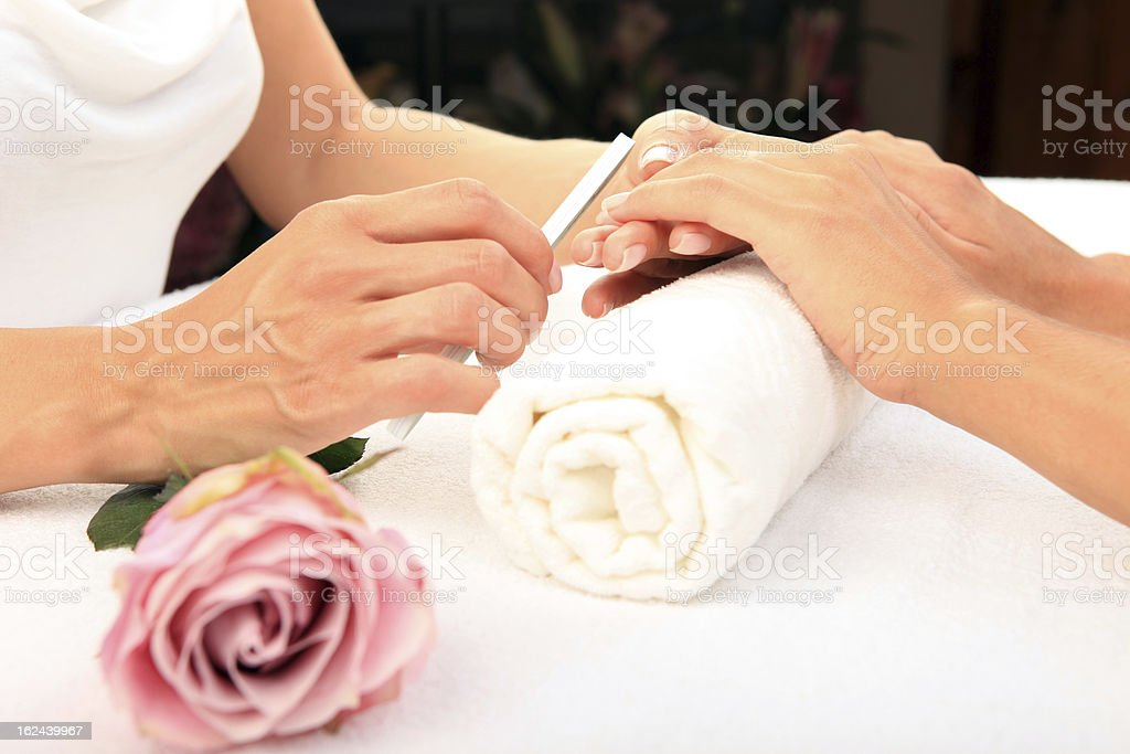 Beauty treatment photo of nice manicured woman palms royalty-free stock photo