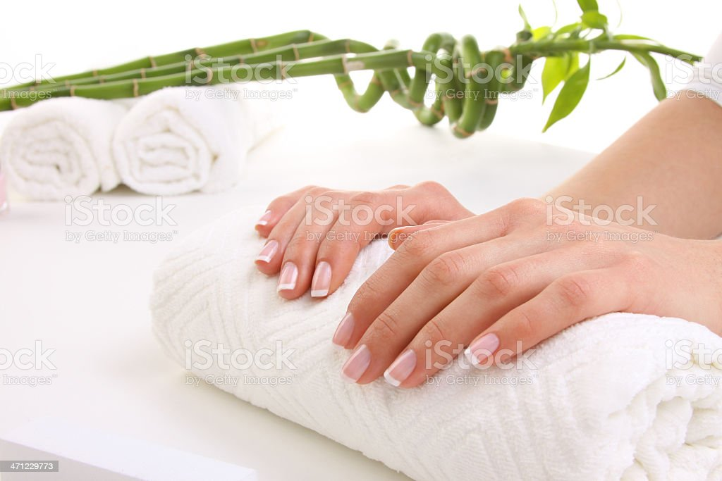 Beauty treatment photo of some manicured female nails royalty-free stock photo