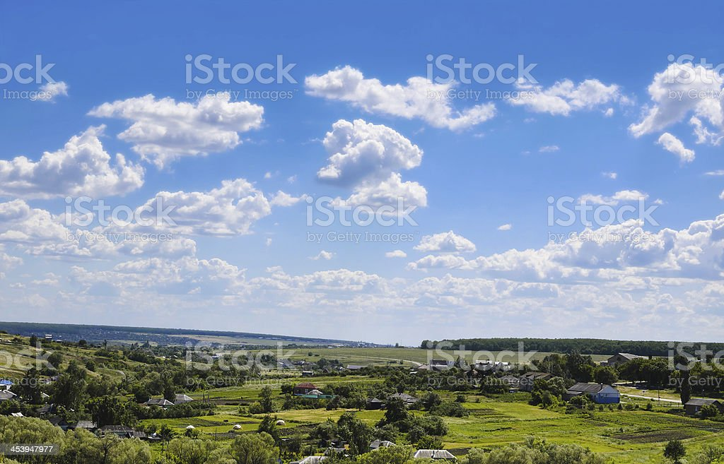 beauty view of nature. Rural village and blue sky royalty-free stock photo