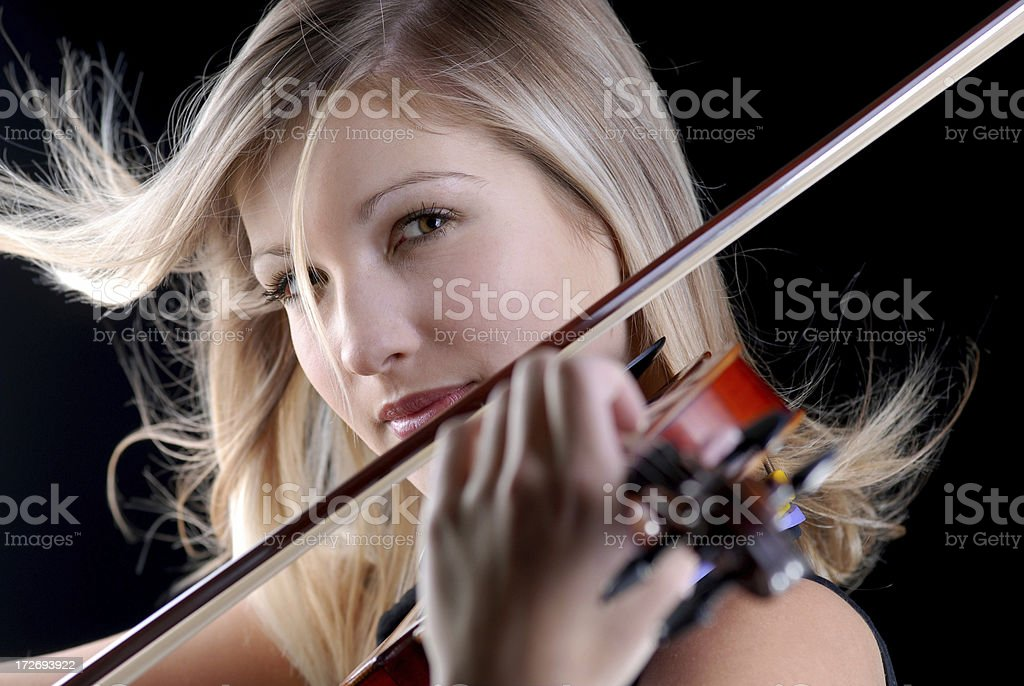 beauty violinist stock photo