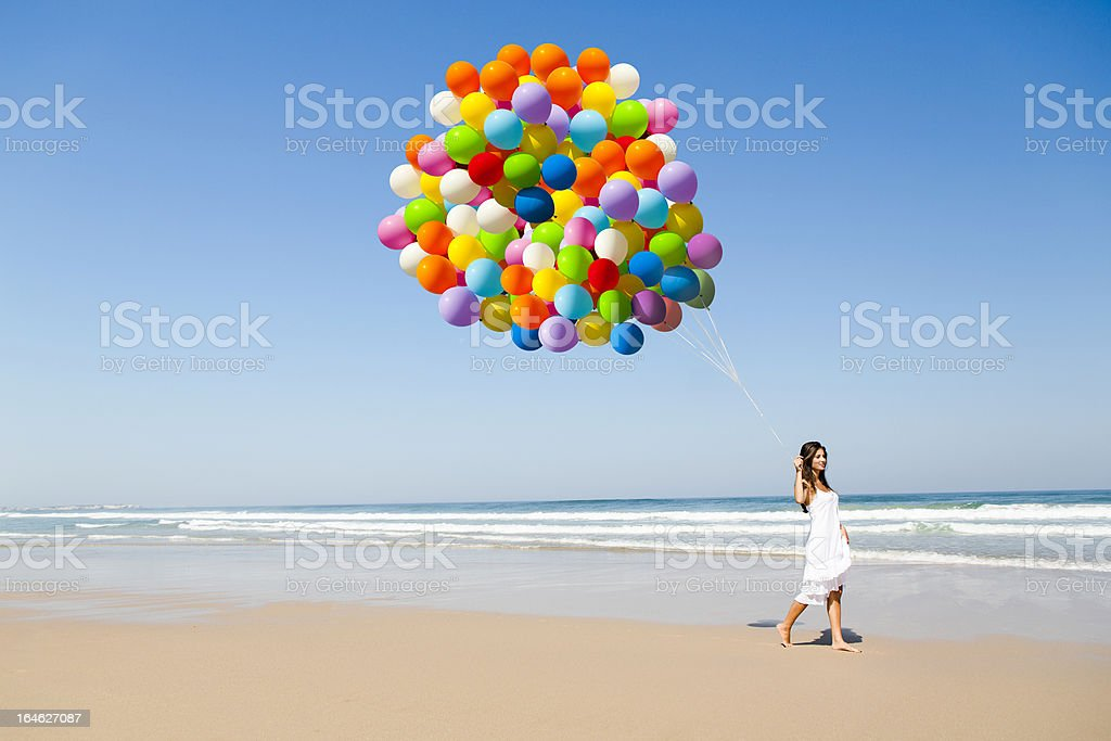 Beauty walking with ballons royalty-free stock photo