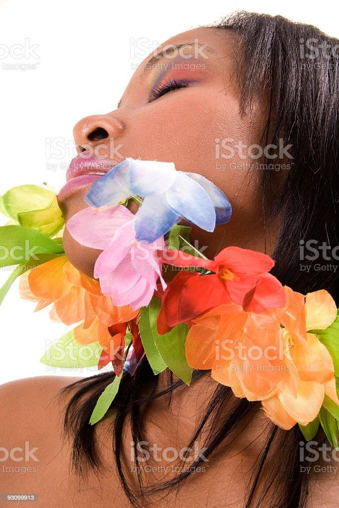 Beauty Wearing Flowers royalty-free stock photo