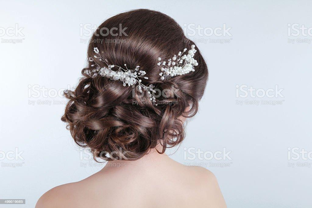 Schönheit Hochzeit Frisur Braut Brunette Mädchen Mit Lockigem Haar