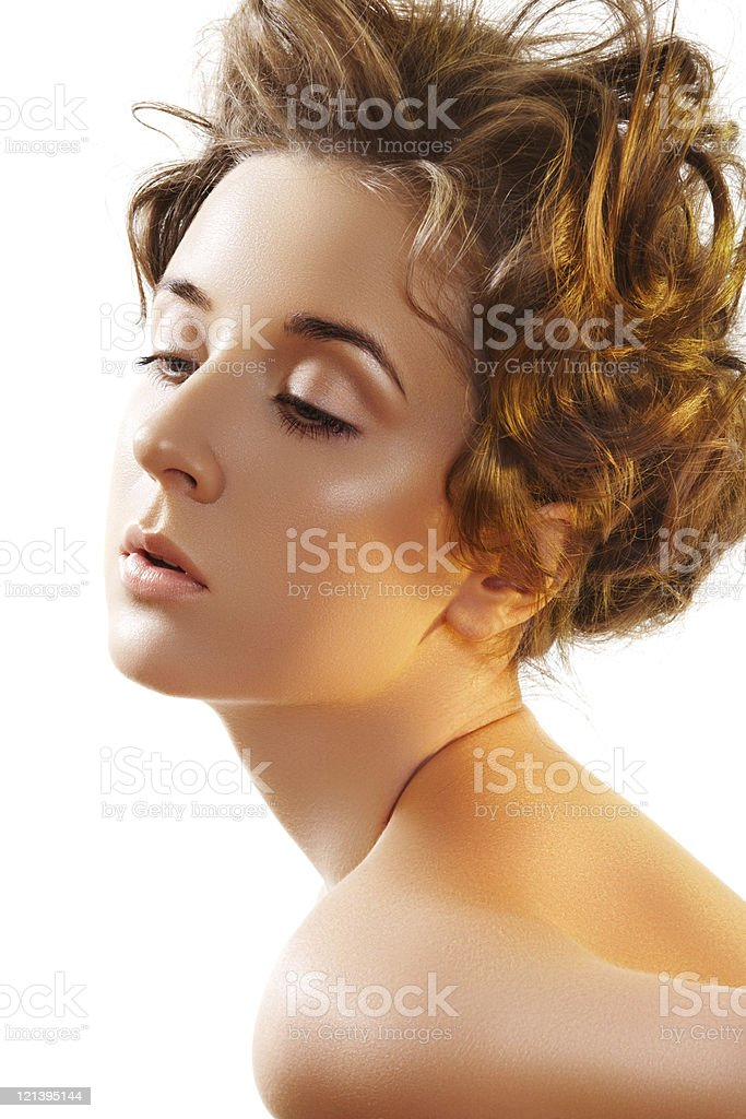 Beauty with curly hairstyle stock photo