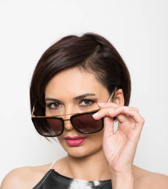 Beauty with eyeglasses stock photo