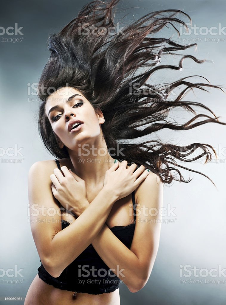 Beauty with flying hair. stock photo