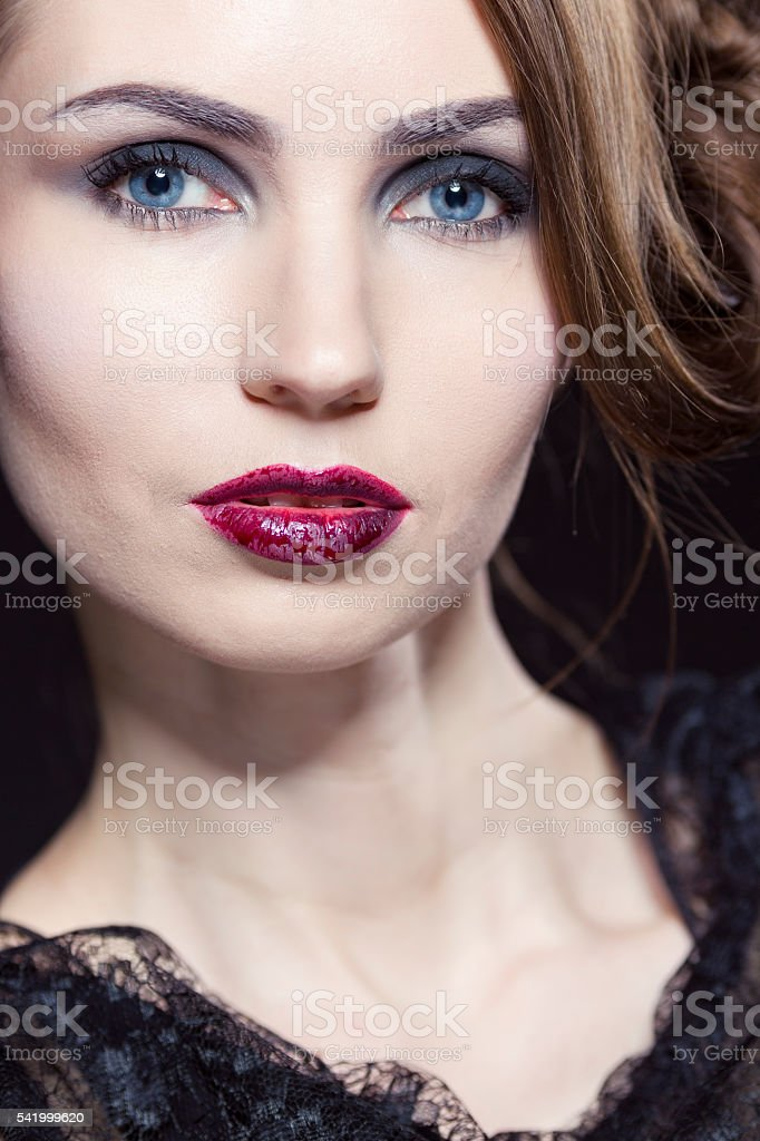 beauty with halloween makeup and styled hair royalty free stock photo