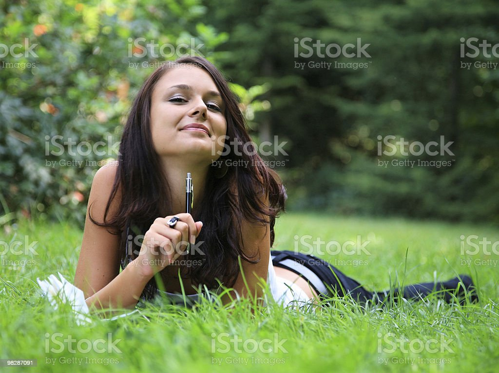 beauty with her diary royalty-free stock photo