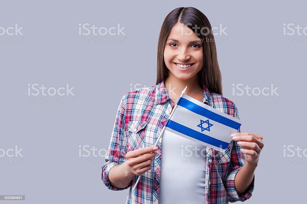 Beauty with Israeli flag. stock photo
