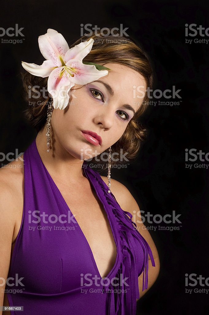 Beauty with lily flower royalty-free stock photo