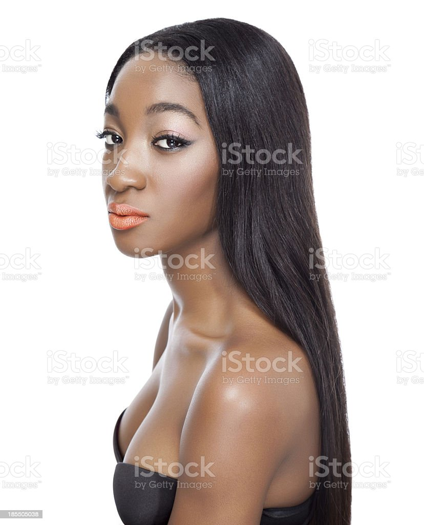 Beauty with long straight hair stock photo