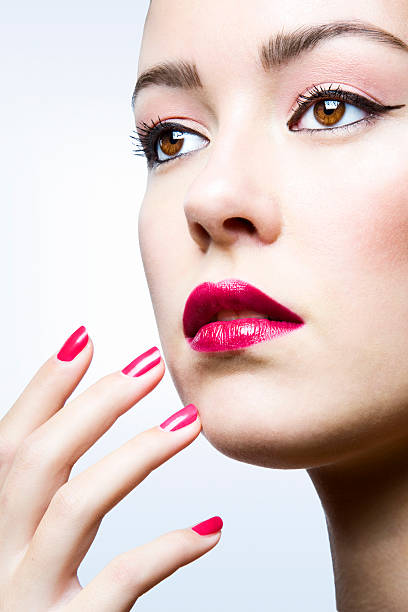 Beauty with nailpolish  pink nail polish stock pictures, royalty-free photos & images