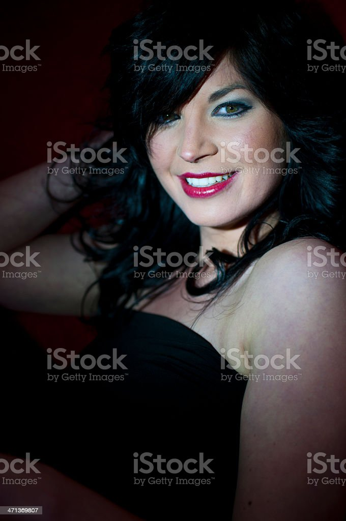 Beauty with red lips and black hair stock photo