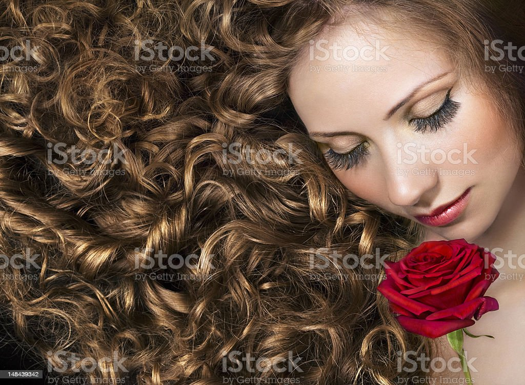 Beauty with red rose stock photo