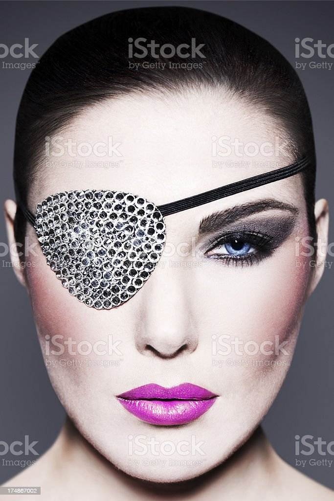 Beauty with Swarovski Eye Patch royalty-free stock photo
