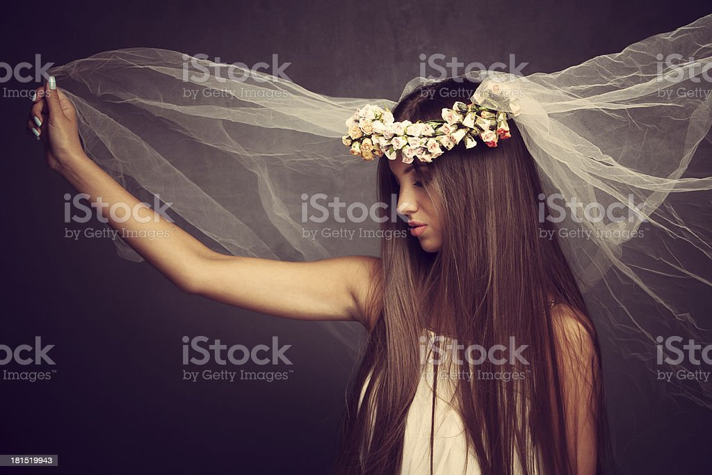 beauty with wreath of flowers royalty-free stock photo