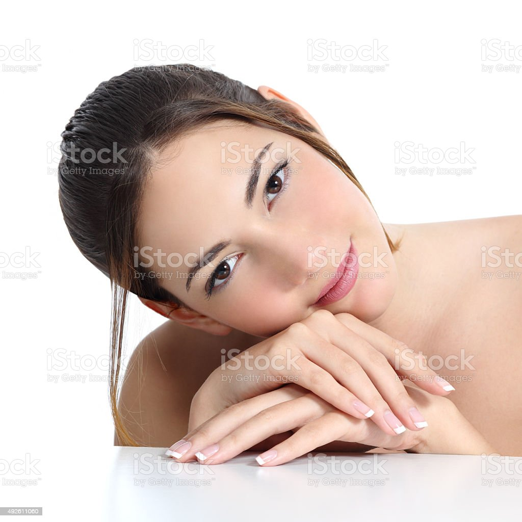 Beauty woman face and hands with french manicure stock photo