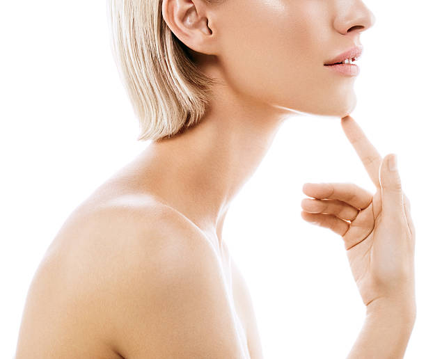 beauty woman face lips nose shoulders. model with perfect  skin. - shoulder surgery stock photos and pictures