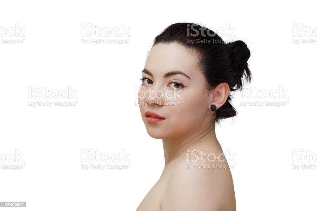 Beauty Woman Face Portrait Of Mixed Race Caucasian Asian Female