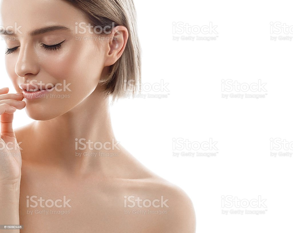 Beauty Woman face with perfect skin Portrait. Isolated on white. - foto de stock