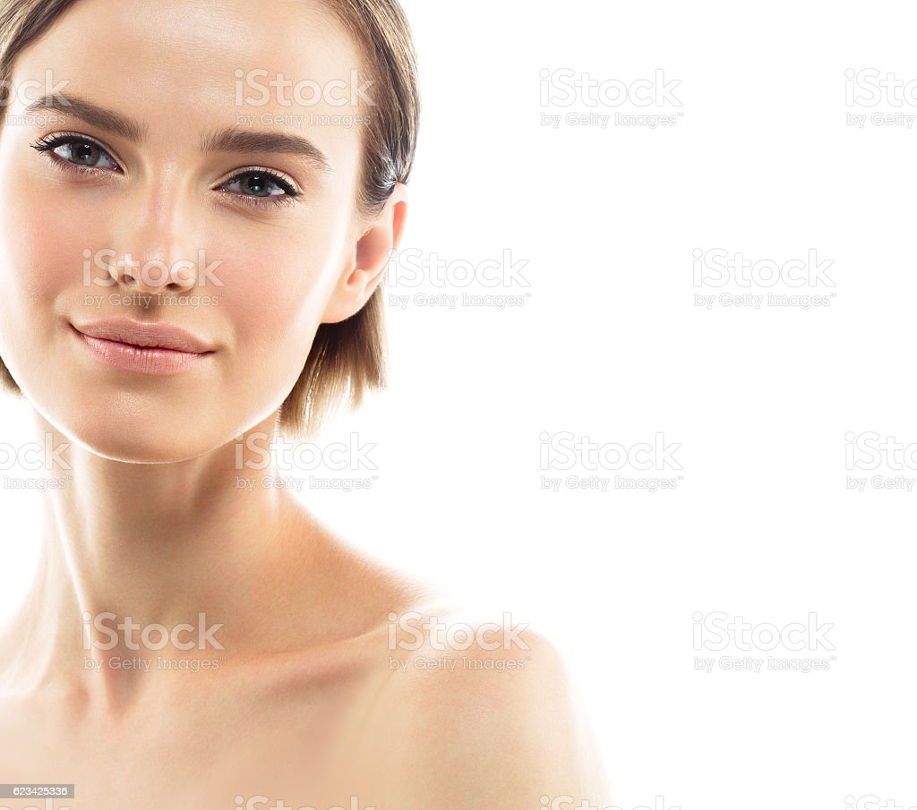 Beauty Woman face with perfect skin Portrait. Isolated on white. - foto de acervo