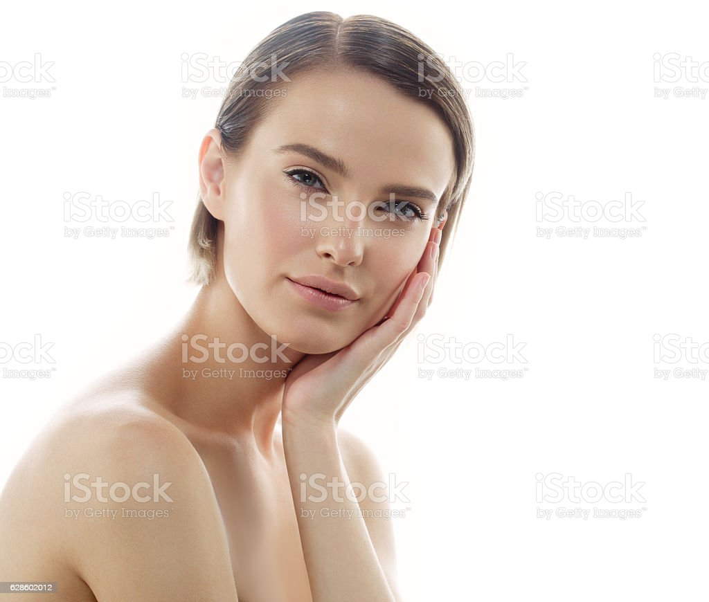 Beauty Woman face with perfect skin Portrait. Isolated on white. Lizenzfreies stock-foto