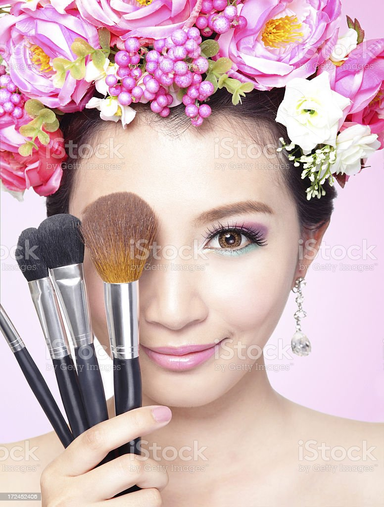 Beauty woman face with Professional Makeup royalty-free stock photo