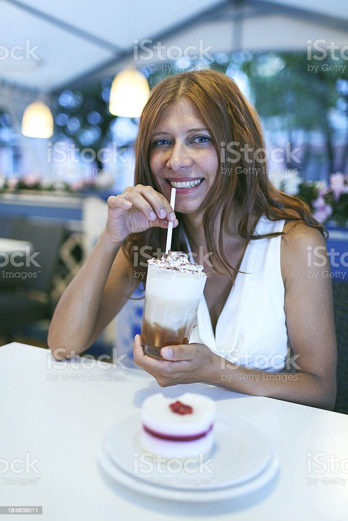 beauty woman in cafe royalty-free stock photo