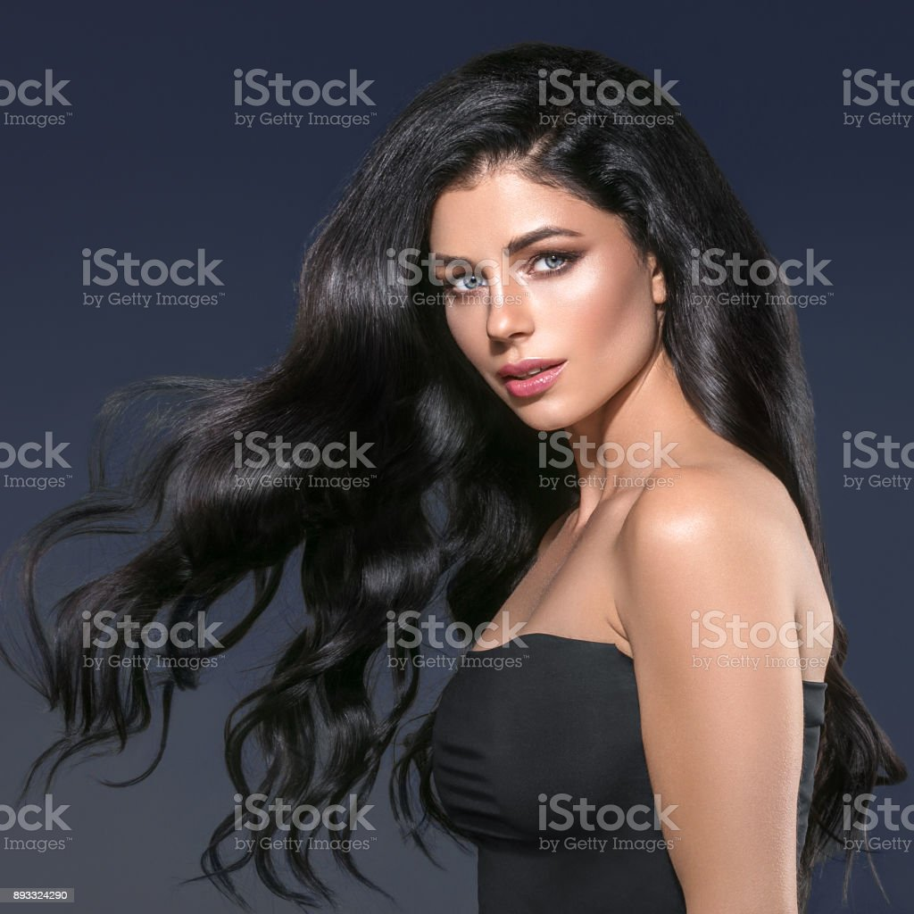 91a4a28b64a Beauty Woman long black hair. Beautiful Spa model Girl with Perfect Fresh  Clean Skin. Brunette woman smiling on black background. Beautiful hairstyle.