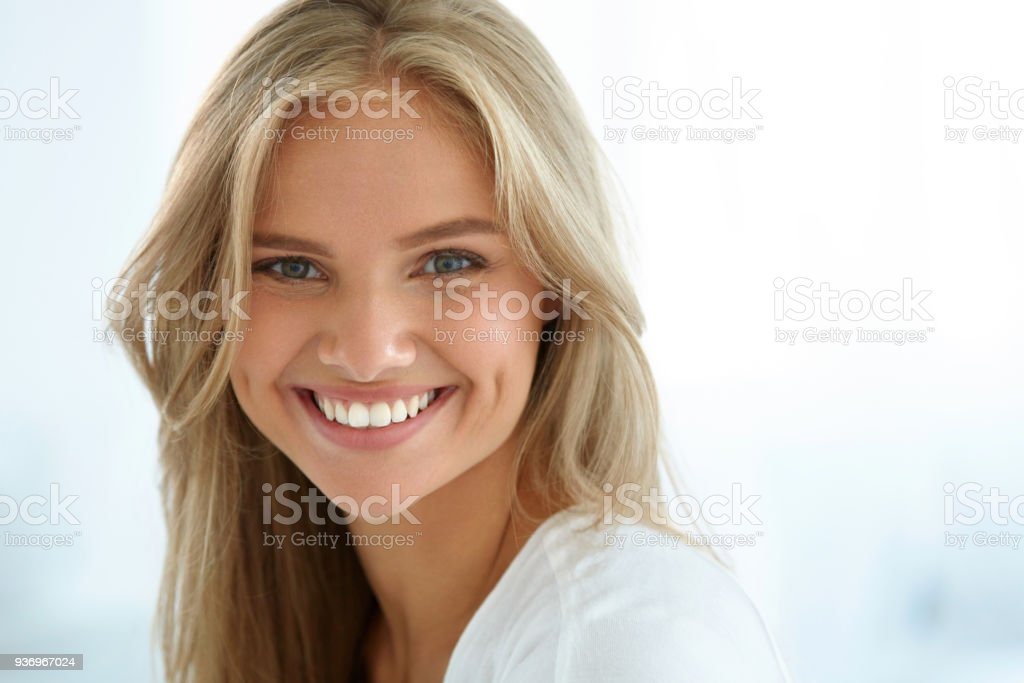 Beauty Woman Portrait. Girl With Beautiful Face Smiling stock photo
