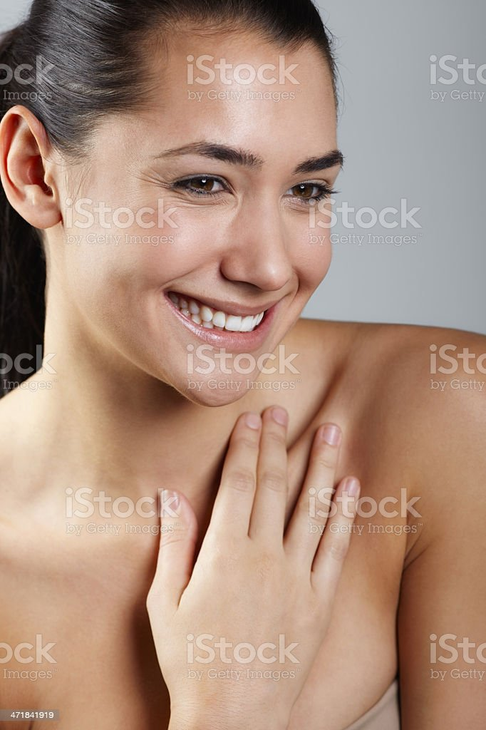 Beauty woman portrait smiling hand on chest royalty-free stock photo