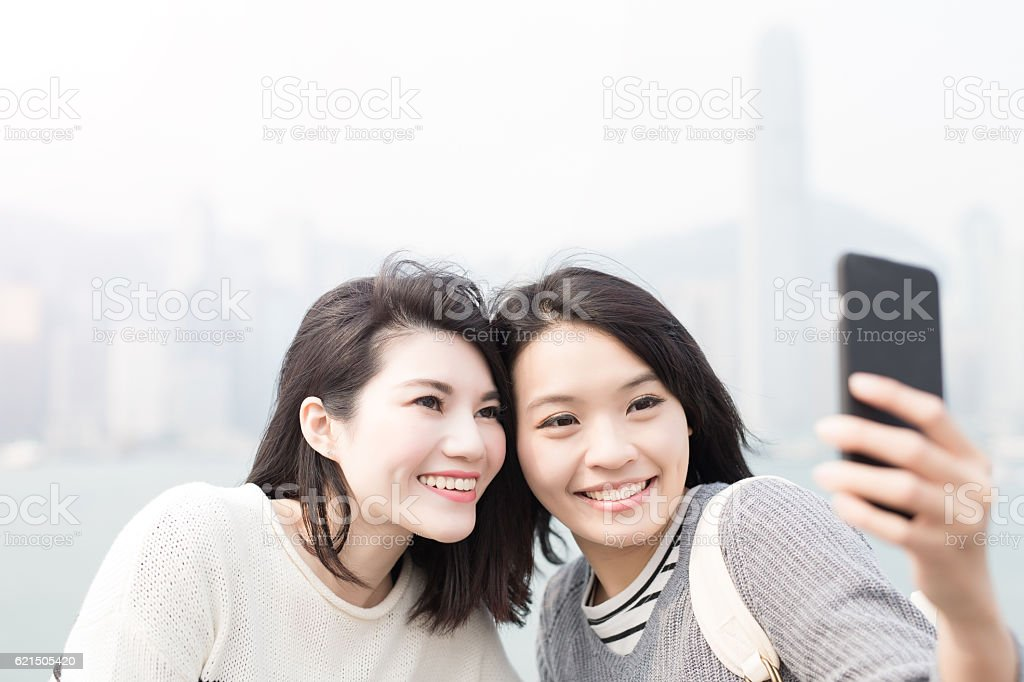 beauty woman selfie in hongkong foto stock royalty-free