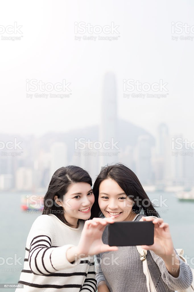 beauty woman selfie in hongkong photo libre de droits
