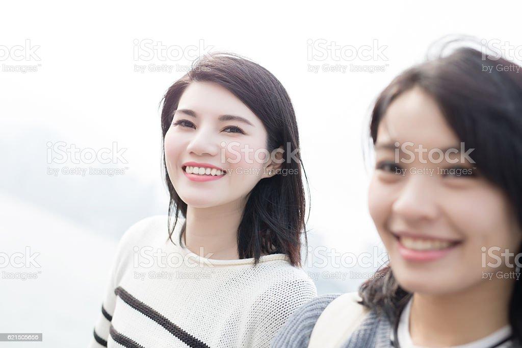 beauty woman selfie in hongkong foto stock royalty-free