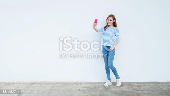 istock beauty woman selfie 884282714